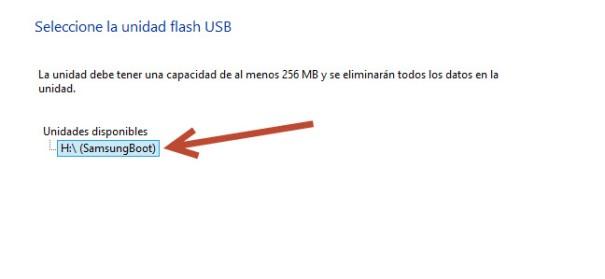 selección USB