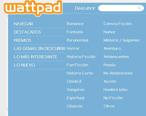 wattpad categorias