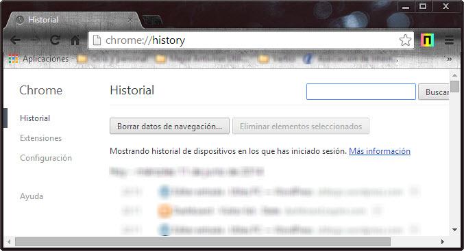 chrome historial