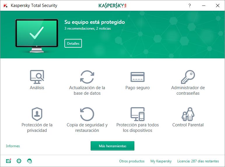 Análisis de Kaspersky Total Security 2018